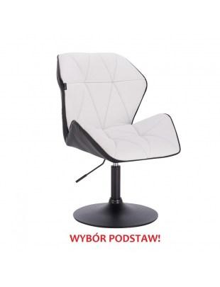 CRONO - Krzesło kosmetyczne ekoskóra biało czarne WYBÓR PODSTAW