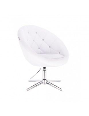 BOL CRISTAL - Krzesło kosmetyczne białe pikowane z kryształkami