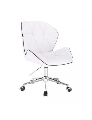 CRONO - Krzesło kosmetyczne białe ekoskóra WYBÓR PODSTAW
