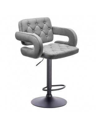 SURF - Krzesło regulowane kosmetyczne oparcie podłokietniki welur stalowy WYBÓR PODSTAW