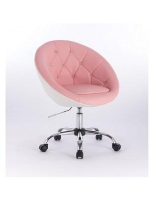 BOL CRISTAL - Krzesło kosmetyczne różowe pikowane z kryształkami WYBÓR PODSTAW