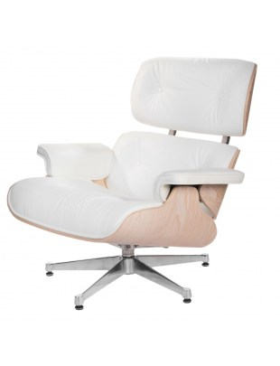 Fotel Vip biały/jasne drewno/srebrna baz a