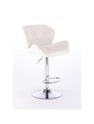 PETYR UNO - Wysoki hoker fryzjerski biały z oparciem eko-skóra podnóżek