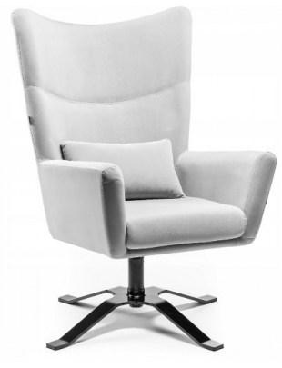 ODYN - Fotel duży z weluru stalowy OUTLET