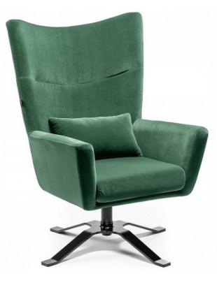 ODYN - Fotel duży z weluru butelkowa zieleń OUTLET