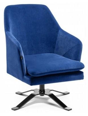 PRAZAR - Fotel gabinetowy kwadrat welur ciemne morze OUTLET