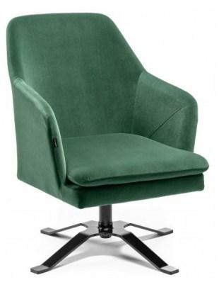 PRAZAR - Fotel gabinetowy kwadrat welur butelkowa zieleń OUTLET