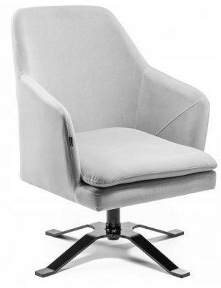 PRAZAR - Fotel gabinetowy kwadrat welur stalowy OUTLET