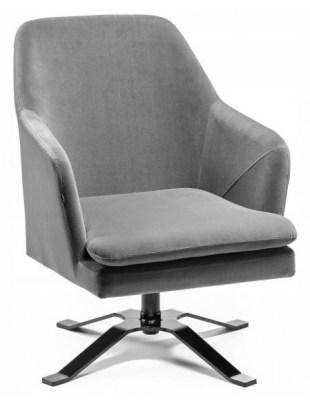 PRAZAR - Fotel gabinetowy kwadrat welur grafitowy OUTLET