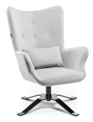 LUNAR - Fotel uszak welur poduszka stalowy OUTLET