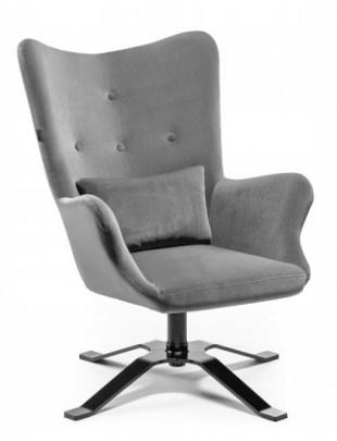 LUNAR - Fotel uszak z poduszką grafitowy welur OUTLET