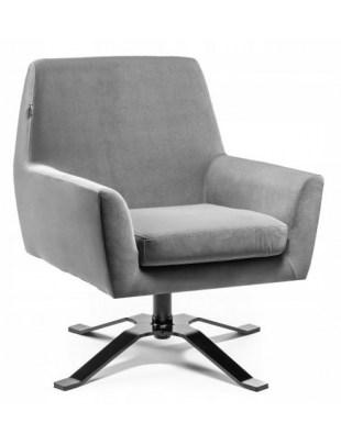 Fotel welurowy BONDO grafitowy - poczekalnia gabinet OUTLET