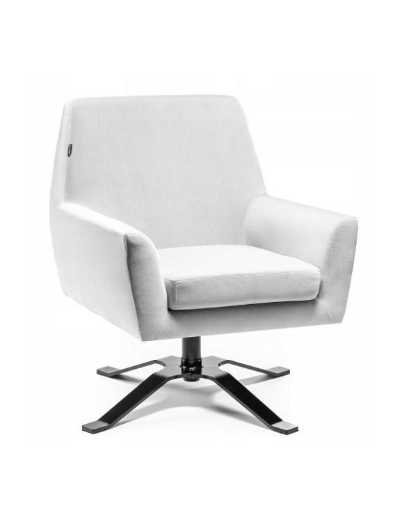 Fotel welurowy BONDO stalowy - poczekalnia gabinet OUTLET