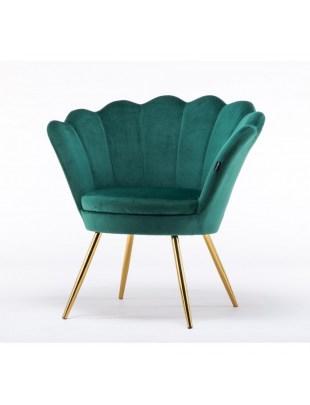 Fotel muszelka ARIA złote nogi butelkowa zieleń welur