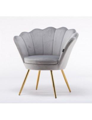 ARIA - Fotel muszelka stalowy welur złote nogi