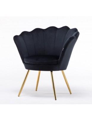 ARIA - Czarny fotel do poczekalni welurowy na złotych nogach