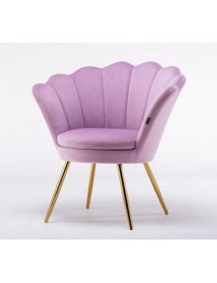 Fotel kawowy ARIA tapicerowany wrzosowy welur
