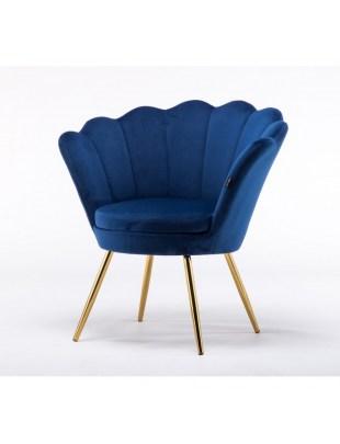 Fotel muszelka ARIA złote nogi welur - ciemne morze