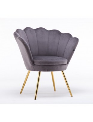 ARIA - Fotel muszelka do poczekalni złote nogi welur - grafitowy