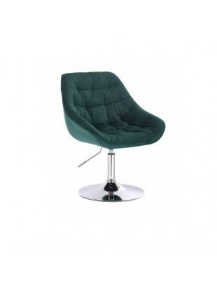 MELVIN - Krzesło kosmetyczne butelkowa zieleń welur WYBÓR PODSTAW