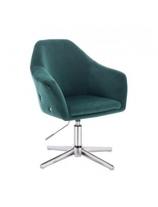 Eduardo - krzesło kosmetyczne tapicerowane butelkowa zieleń WYBÓR PODSTAW