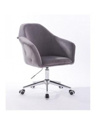 Eduardo - krzesło kosmetyczne tapicerowane grafitowe WYBÓR PODSTAW