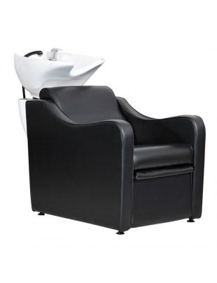 Capri - Myjnia fryzjerska czarna z elektrycznym podnóżkiem