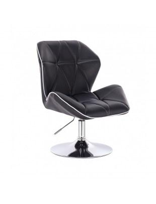 CRONO - Krzesło kosmetyczne czarne ekoskóra WYBÓR PODSTAW