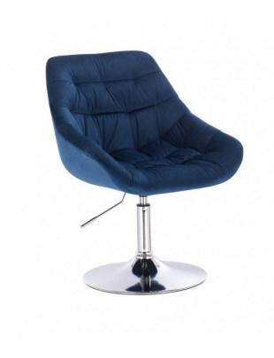 MELVIN - Krzesło kosmetyczne ciemne morze welur WYBÓR PODSTAW