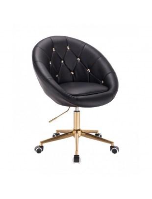 BOL GOLD - Krzesło kosmetyczne czarne na kółkach złote kryształki