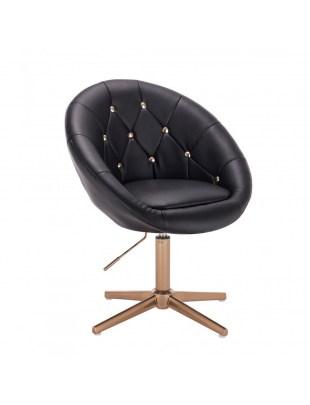 BOL GOLD - Czarne krzesło kosmetyczne ze złotymi kryształkami cross