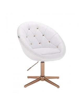 BOL GOLD - Białe krzesło kosmetyczne pikowane złote kryształki cross