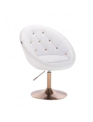 BOL GOLD - Krzesło kosmetyczne białe ekoskóra dysk