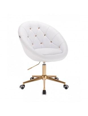 BOL GOLD - Krzesło dla kosmetyczki białe obrotowe na kółkach
