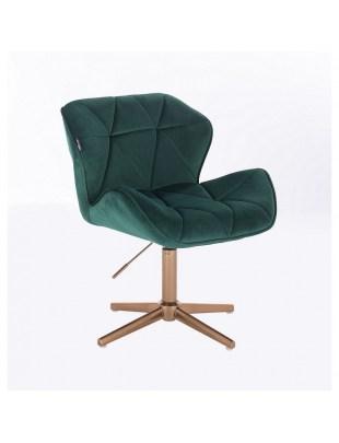 Petyr - krzesło kosmetyczne butelkowa zieleń welur