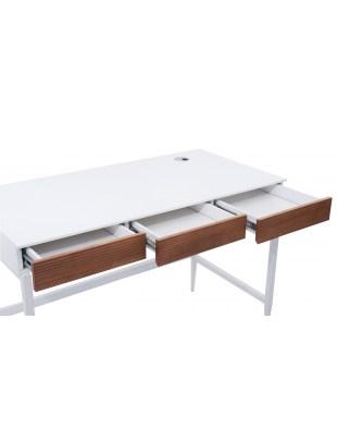 DORIS - Białe biurko kosmetyczne z brązowymi elementami