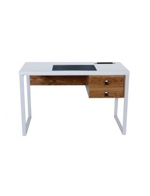 DELLA - Białe biurko blat z miejscem na tablet / telefon