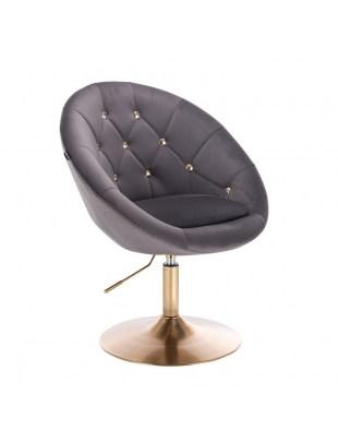 BLOM CRISTAL GOLD - Krzesło kosmetyczne grafitowe welur