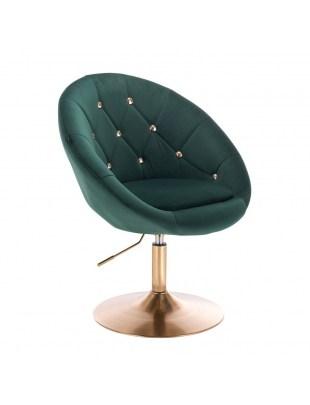 BLOM CRISTAL GOLD - Krzesło kosmetyczne butelkowa zieleń welur