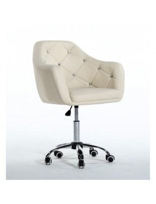 Blink - Krzesło kosmetyczne kremowe na kółkach