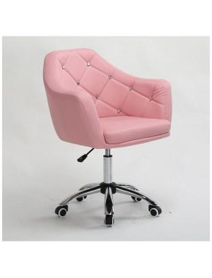 Blink - Krzesło kosmetyczne różowe z kryształkami