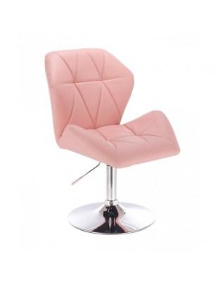 CRONO ZET - Różowe krzesło kosmetyczne z oparciem