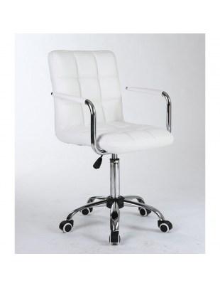 MIRACLE - Biały fotel fryzjerski z podłokietnikami