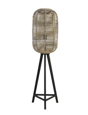 Lampa podłogowa Base ratanowa szara