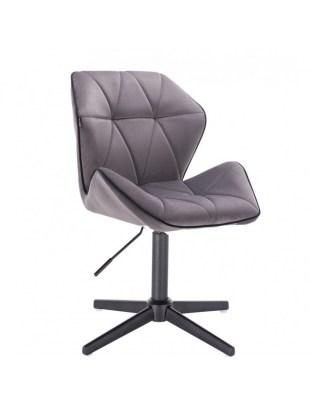 CRONO - Krzesło kosmetyczne grafit welur podstawa cross chrom