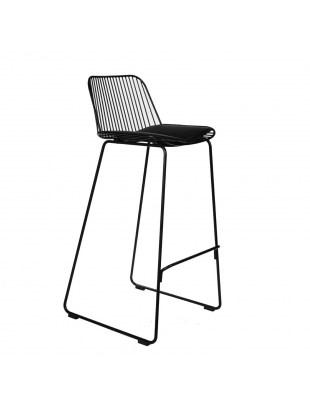 Krzesło barowe Dill High czarne z czarną poduszką Outlet