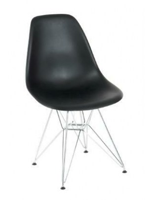 Krzesło P016 PP czarne, chromowane nogi Outlet