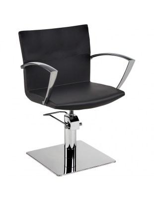 Fotel Fryzjerski Yoko - baza kwadrat - tapicerka czarna - Ayala 48h