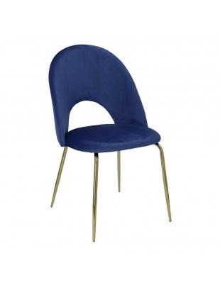 Krzesło Solie Velvet niebieskie/złote