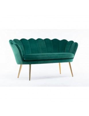 Sofa ARIA muszelka - ławka salon poczekalnia przedpokój - welur butelkowa zieleń